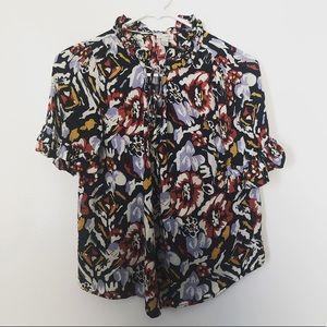 odille Anthropologie floral black blouse size 2